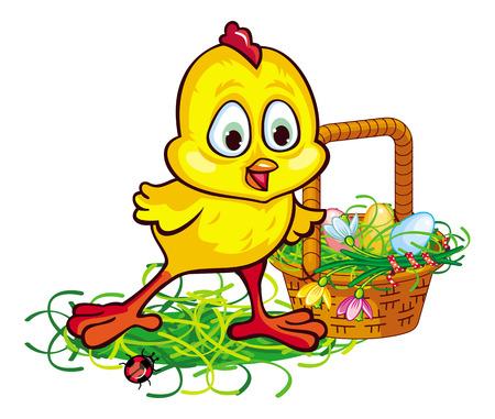 Glückliches Huhn mit Osternest Standard-Bild - 53326491