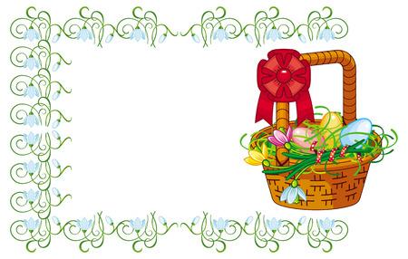 Color frame with Easter basket