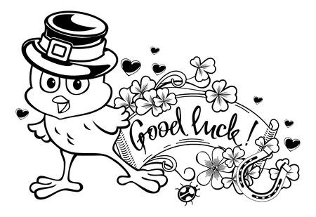 irish easter: Funny chicken in the leprechaun hat. clip art.
