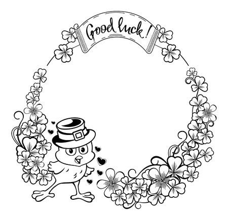 irish easter: Round frame with funny chicken with outline clover.clip art.