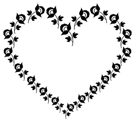 background picture: Heart shaped frame with floral silhouettes.