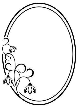 contour: Round frame with contour flowers Illustration