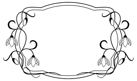 frame  box: Silhouette frame with contour flowers Illustration