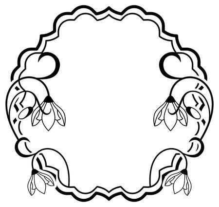 silhouette contour: Silhouette frame with contour flowers Illustration