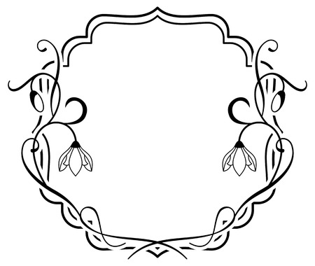 contour: Silhouette frame with contour flowers Illustration