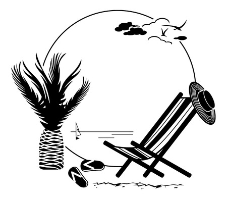 beach chairs: Round frame with sun lounger Illustration