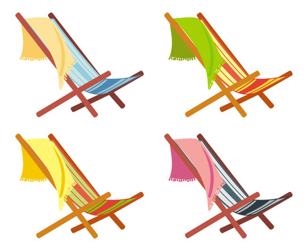 deckchair: Colorful deckchairs isolated on a white background