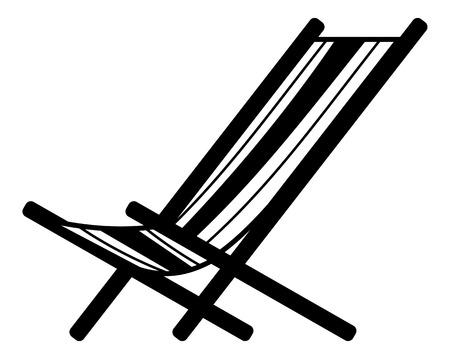 Liegestuhl Silhouette auf einem weißen Hintergrund