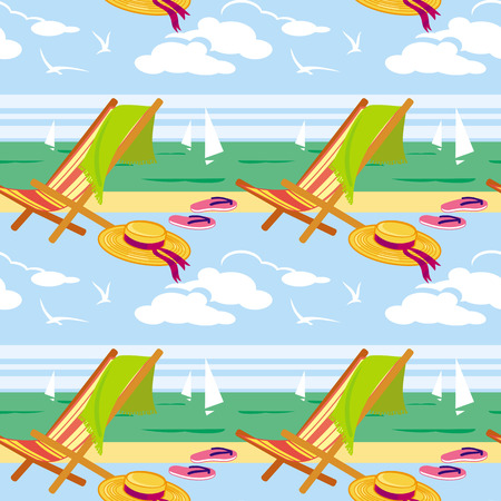 deckchair: Seamless pattern with deckchair and sea Illustration