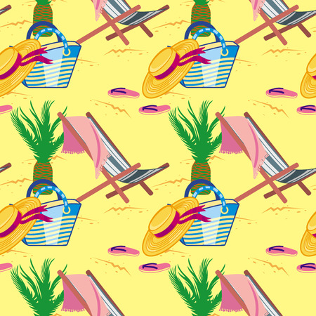 Print design: Seamless pattern with deckchair