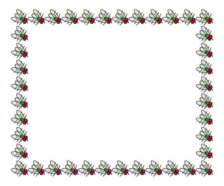 Vector frame with cartoon flies.