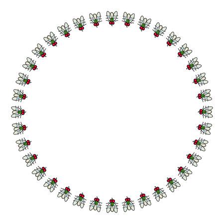 Round vector frame with cartoon flies.
