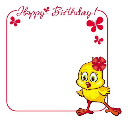 baby chicken: Greeting Birthday card with baby chicken Illustration