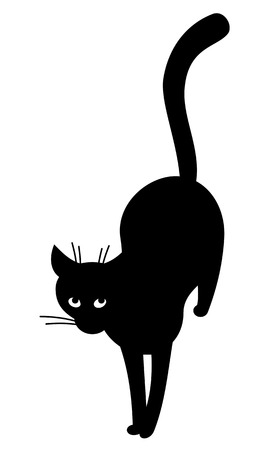stray: Black cat silhouette. Top view.