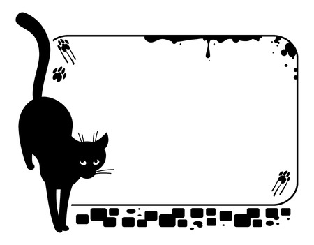 stray: frame with silhouette of a black stray cat.