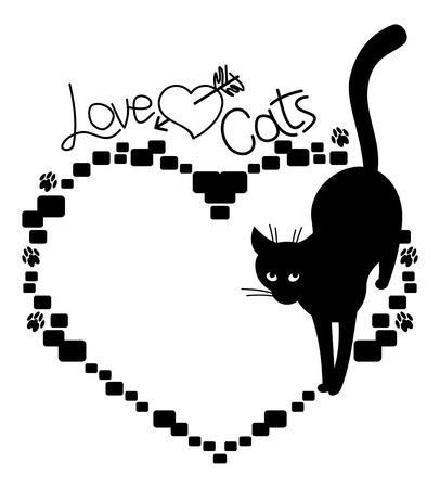 stray: heart shaped frame with silhouette of a black stray cat. Illustration
