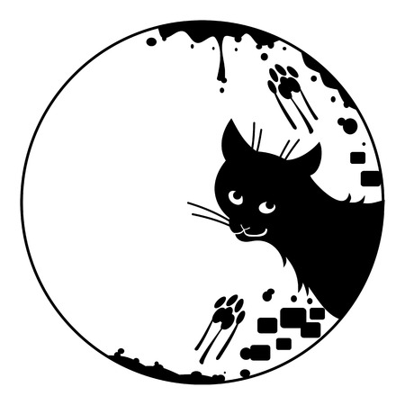 Round frame with silhouette of a black stray cat.
