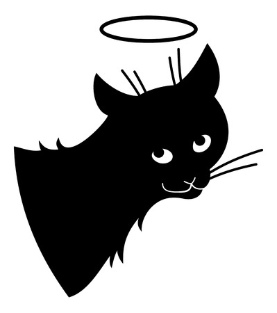 stray: Black cat pretending it a saint. clip art. Illustration