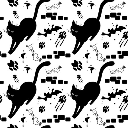 sloppy: Black cat walking on the sloppy street. seamless pattern with cats silhouettes