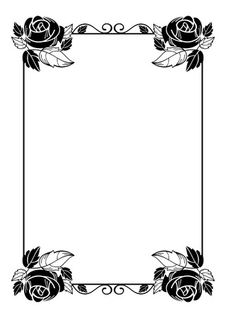 flower ornament: Vintage vertical floral frame with roses silhouette. Black and white vector design element for advertisements, flyer, web, wedding and other invitations or greeting cards.