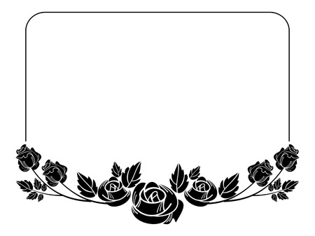 Vintage Horizontal Floral Frame With Roses Silhouette. Black ...