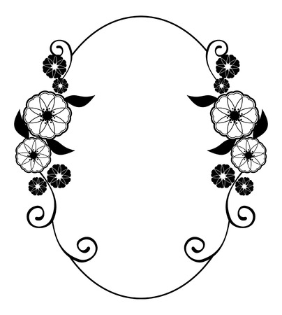 Round flower frame. Decorative flowers arranged on a shape of the wreath, for wedding invitations and birthday cards. Black and white vector clip art.
