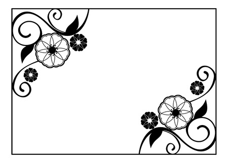 Flower Frame. Decorative Black And White Frame With Floral Elements ...