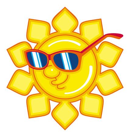 colores calidos: Sol en las gafas de sol. Clip art.