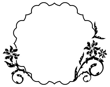 Black and white grunge frame with abstract floral elements. Vector clip art.