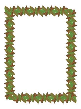 folk tales: Vertical frame with leaves Illustration