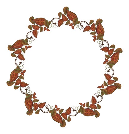 folk tales: Round frame with autumn leaves