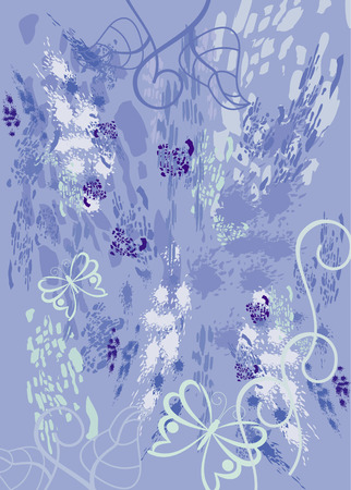 blots: Abstract background with ink blots, stains and contours of butterflies. Illustration
