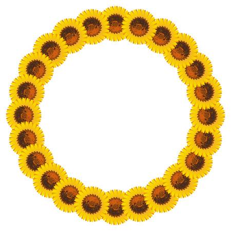 Rond frame met zonnebloemen. Vector illustraties.