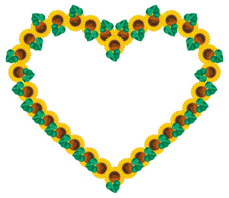 heartshaped: Heart-shaped frame with sunflowers. Vector clip art.