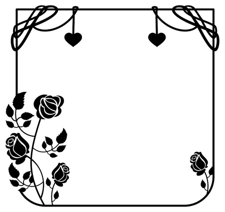 free background: Black and white frame with roses silhouettes. Vector clip art. Illustration
