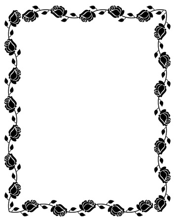 mourn: Black and white frame with roses silhouettes. Vector clip art. Illustration