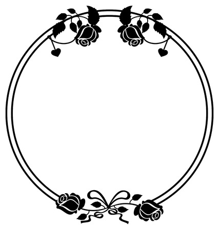 mourn: Round black and white frame with roses silhouettes. Vector clip art. Illustration