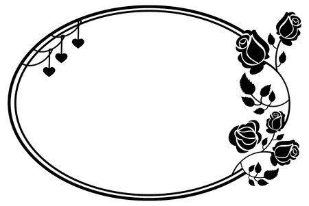 Oval Black And White Frame With Roses Silhouettes. Vector Clip ...
