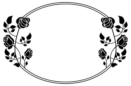 Oval black and white frame with roses silhouettes. Vector clip art.