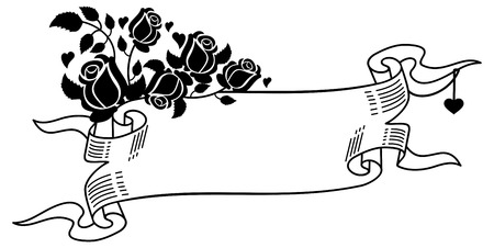 paper scroll: Contour paper scroll with roses silhouettes. Vector clip art. Illustration