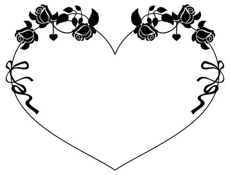 silueta del marco en forma de corazón con las rosas. Clip art.