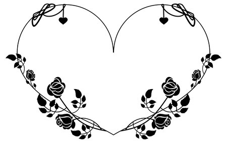 Heart-shaped silhouette frame with roses. Vector clip art. Illustration