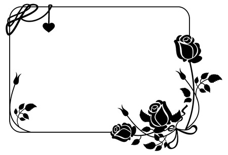 Black and white frame with roses silhouettes. Vector clip art. Иллюстрация