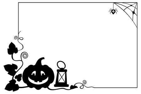 Marco Blanco Y Negro Con Silueta De Calabaza De Halloween. Vector De ...