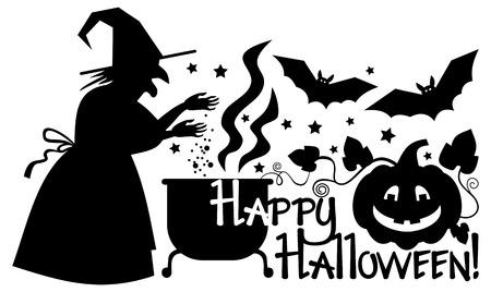 """tarjeta de saludo """"Feliz Halloween!"""" y la silueta de una bruja preparar la poción en el caldero mágico. Clip art. Ilustración de vector"""