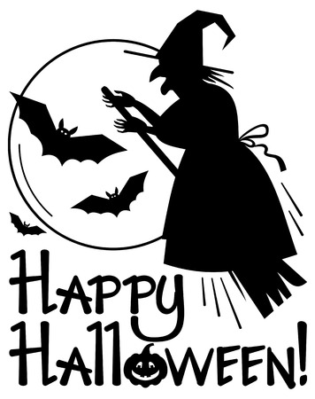 enchantment: Silhouette of a witch flying on broom and holiday greeting Happy Halloween!. Vector clip art.