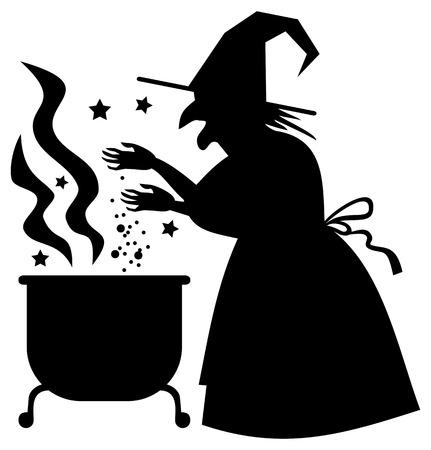 magic cauldron: Silhouette of a witch preparing potion in the magic cauldron. Vector clip art. Illustration