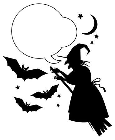 enchantment: Silhouette of a witch flying on broom with empty speech bubbles.Vector clip art