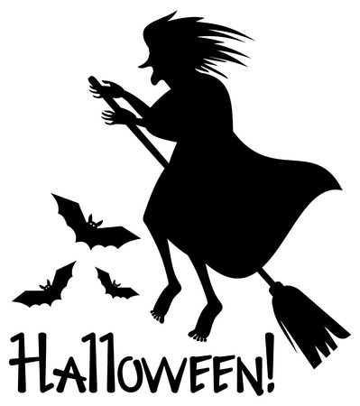 enchantment: Silhouette of a witch flying on broom. Vector clip art.