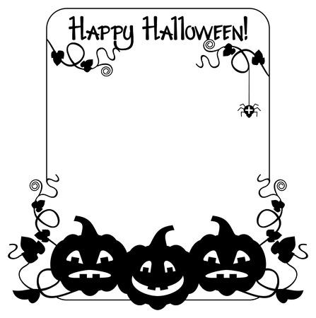Schwarz-Weiß-Rahmen Mit Halloween-Kürbis Und Text \